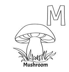 alphabet letter m coloring page mushroom vector image