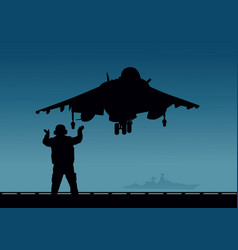 an aircraft carrier a plane with vertical vector image