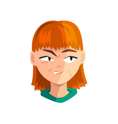 Angry redhead girl female emotional face avatar vector