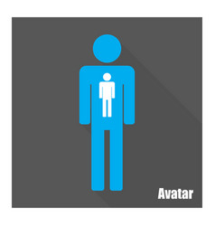 avatar icon man with long shadow flat style vector image