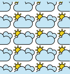 Beauty weather of clouds with sun background vector