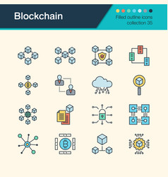 blockchain icons filled outline design collection vector image