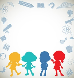 Border design with silhouette children vector