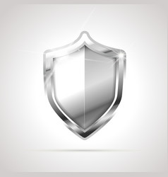 bright metal glossy shield isolated on white vector image