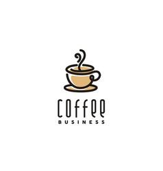 brown coffee cup smoke cafe bar logo vector image
