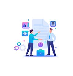 Businessmen agreement partners flat 2d character vector