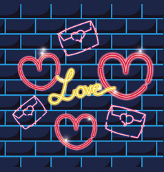 Card letter and hearts neon icons sign decoration vector