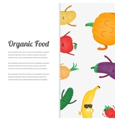 Cartoon fruits and vegetables Eco food background vector