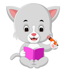 Cat holding book and pencil vector