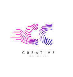 Cc c c zebra lines letter logo design with vector
