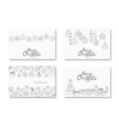 collection hand drawn merry christmas vector image