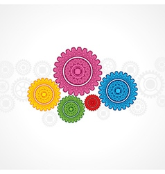 Colorful gear on white background vector image