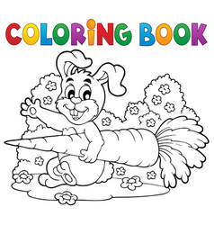 Coloring book rabbit theme 4 vector