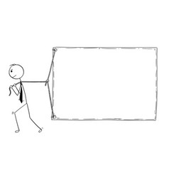 Conceptual cartoon of businessman pulling large vector