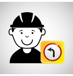 construction worker road sign graphic vector image