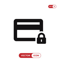 credit card icon with lock sign vector image