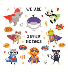 Cute animal superheroes set vector