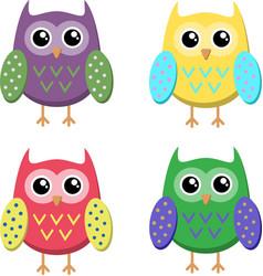 cute cartoon owls icons bright owls vector image