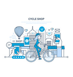 Cycle shop purchasing goods ordering payment vector