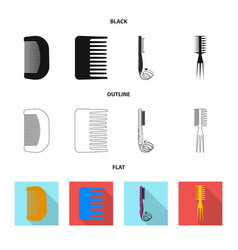 Design of brush and hair sign set of brush vector