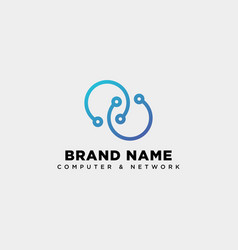 Digital infinity network logo template icon vector