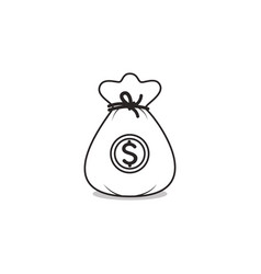 dollar bag icon isolated on white vector image