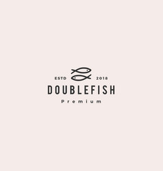 doodle double fish logo icon vector image