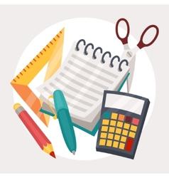 Education design of school supplies icon vector