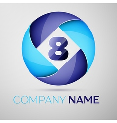 Eight number colorful logo in the circle template vector