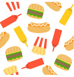 fast food seamless pattern for wrapping paper vector image