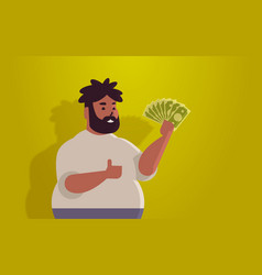 fat man holding money bills financial success vector image