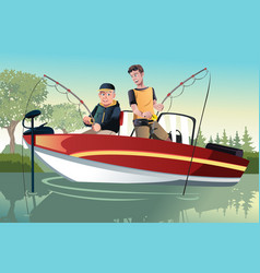 father and son fishing vector image