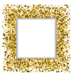 Festive frame gold spangles square background vector