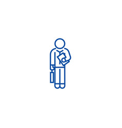 financial consultant 32 line icon concept vector image