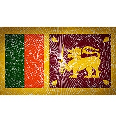 Flags Sri Lanka with broken glass texture vector image