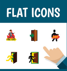 flat icon exit set of entrance evacuation vector image