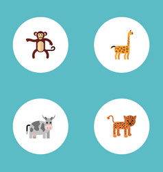 flat icons kine panther camelopard and other vector image
