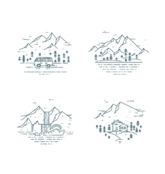 Flat line travel concept set vector image