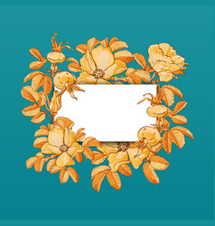 Floral picture frame with drawn rose hips vector