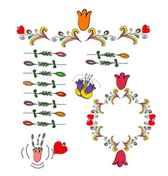 floral wreaths and doodle elements vector image