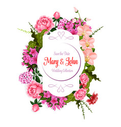 Flowers bouquet for wedding greeting card vector