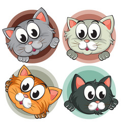 Four kitty heads on round badge vector