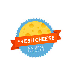fresh cheese label vector image