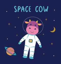 funny cow astronaut in space vector image