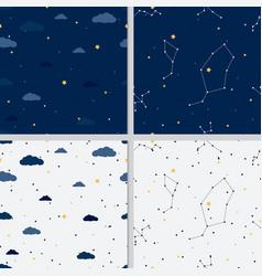 galaxy night sky minimal seamless pattern vector image