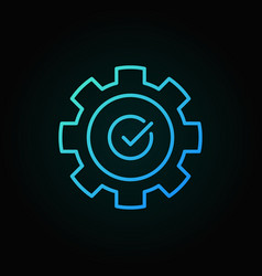 Gear with check mark blue outline icon vector