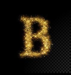 Gold glittering letter b on black background vector