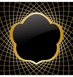 golden frame on black background vector image