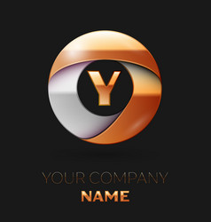 Golden letter y logo in the golden-silver circle vector