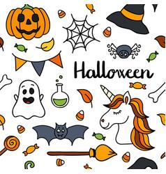halloween seamless pattern autumn unicorn vector image